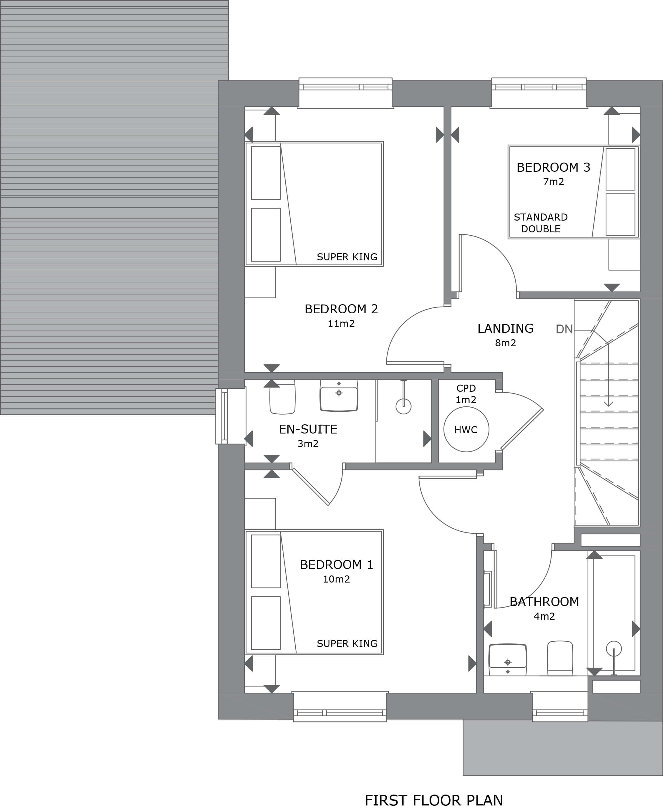 013 Crantock House 39 First Floor Plan Marketing - House 31 - 3 Bedroom Semi-Detached Home