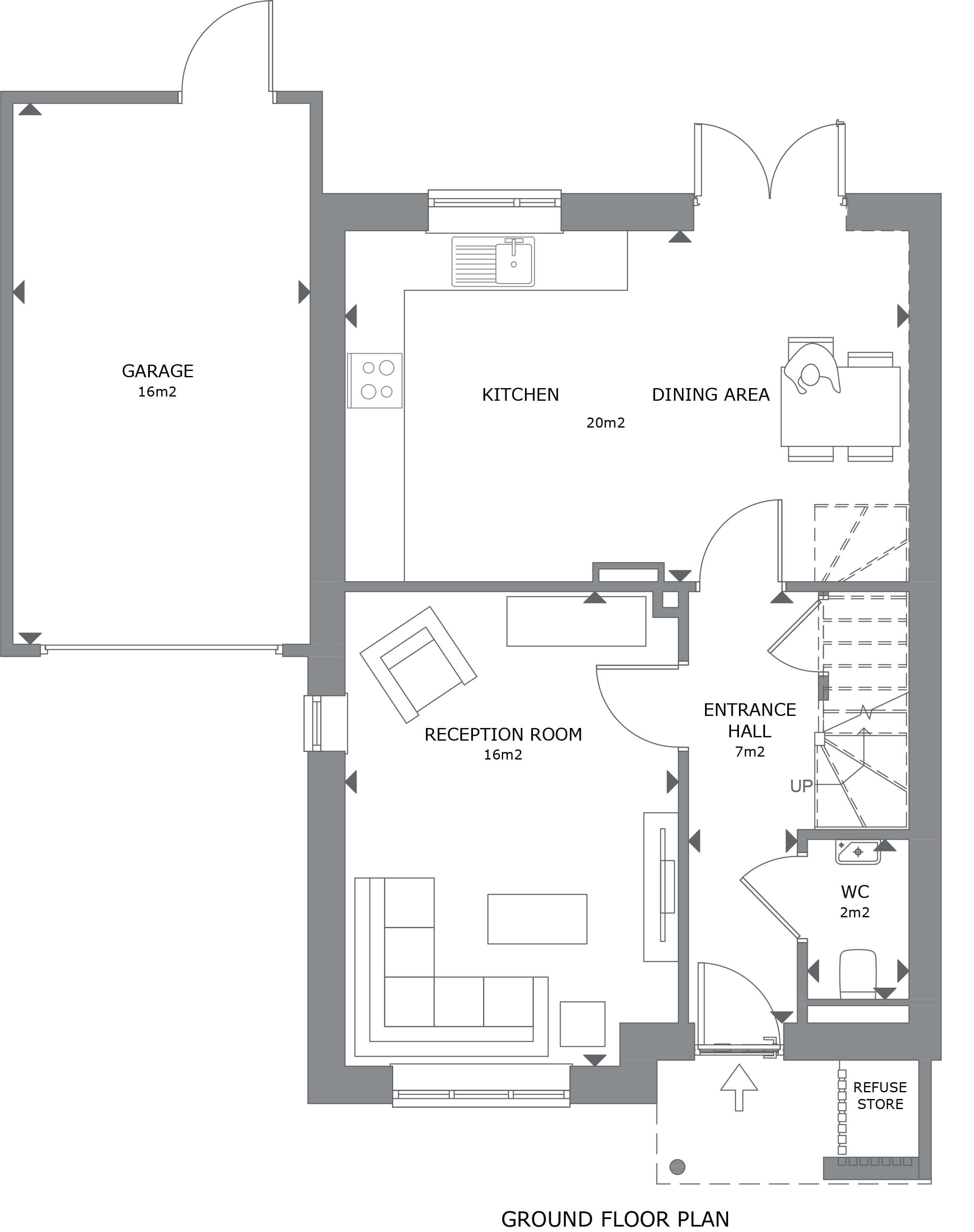 013 Crantock House 39 Ground Floor Plan Marketing - House 31 - 3 Bedroom Semi-Detached Home