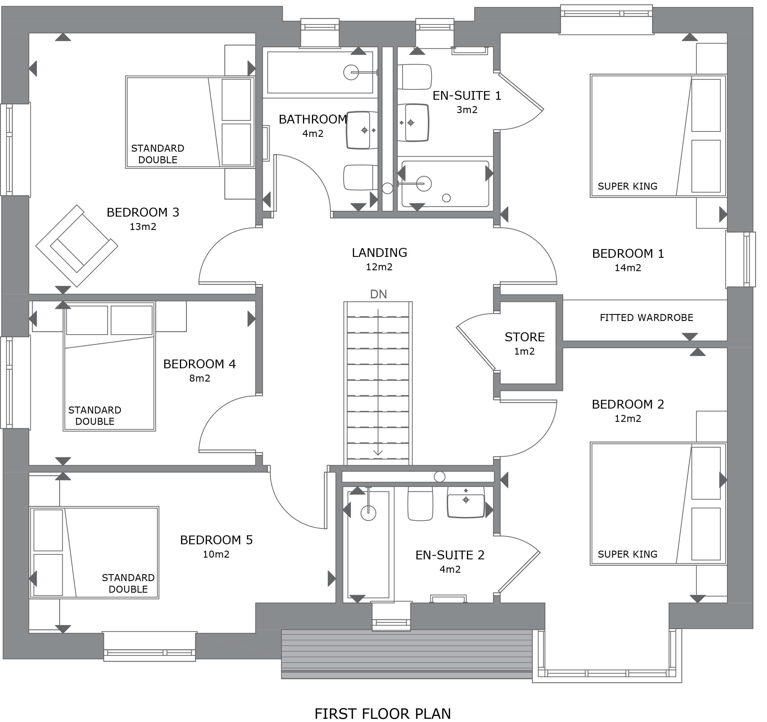 013 Crantock House 42 First Floor Plan Marketing - House 49 - 5 Bedroom Detached Home