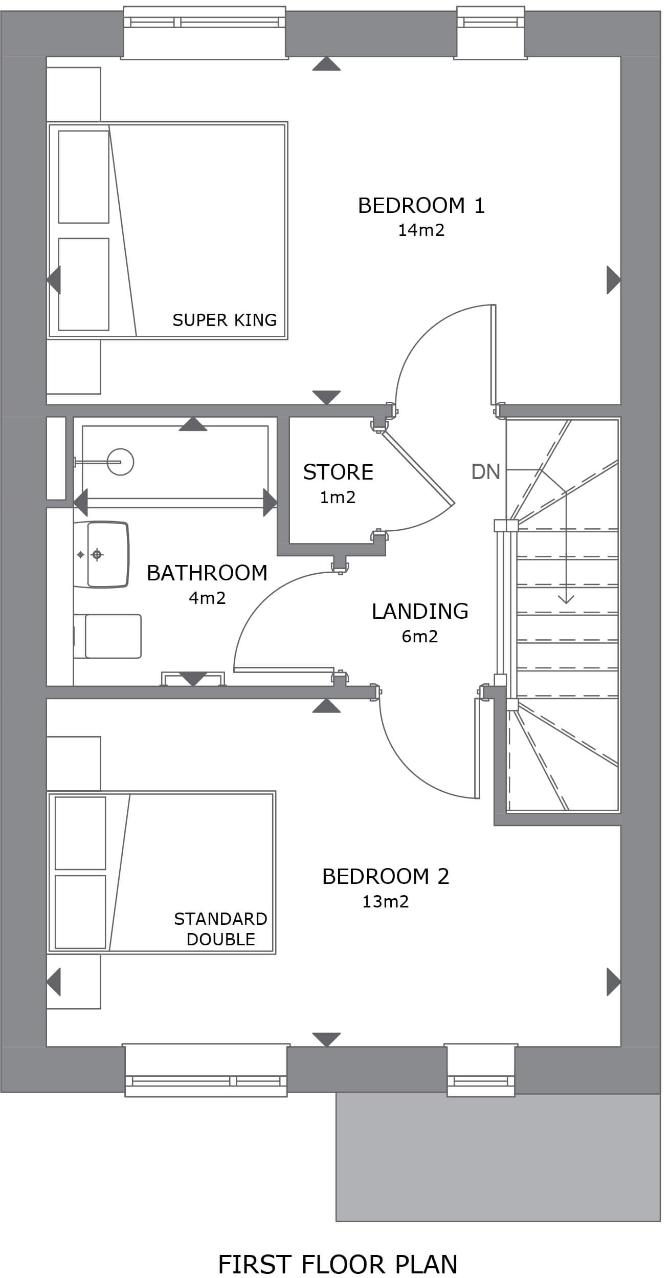 013 Crantock House 6 First Floor Plan Marketing - SOLD - all 2 bedroom homes are currently reserved