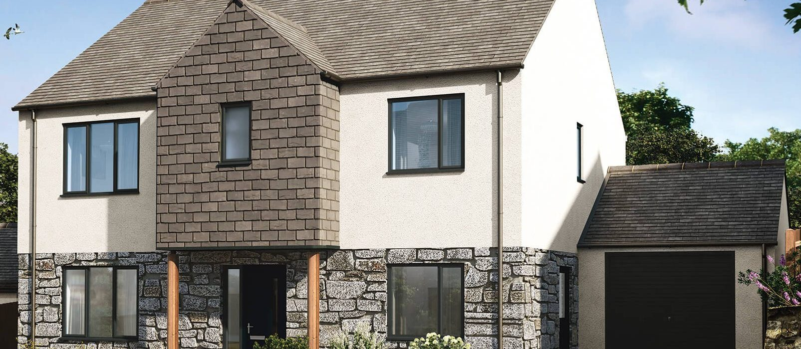 4 bedroom home HalwynMeadows Crantock whiteandgranite.jpeg 1 e1554462176109 1605x700 - House 51 - 4 Bedroom Detached Home