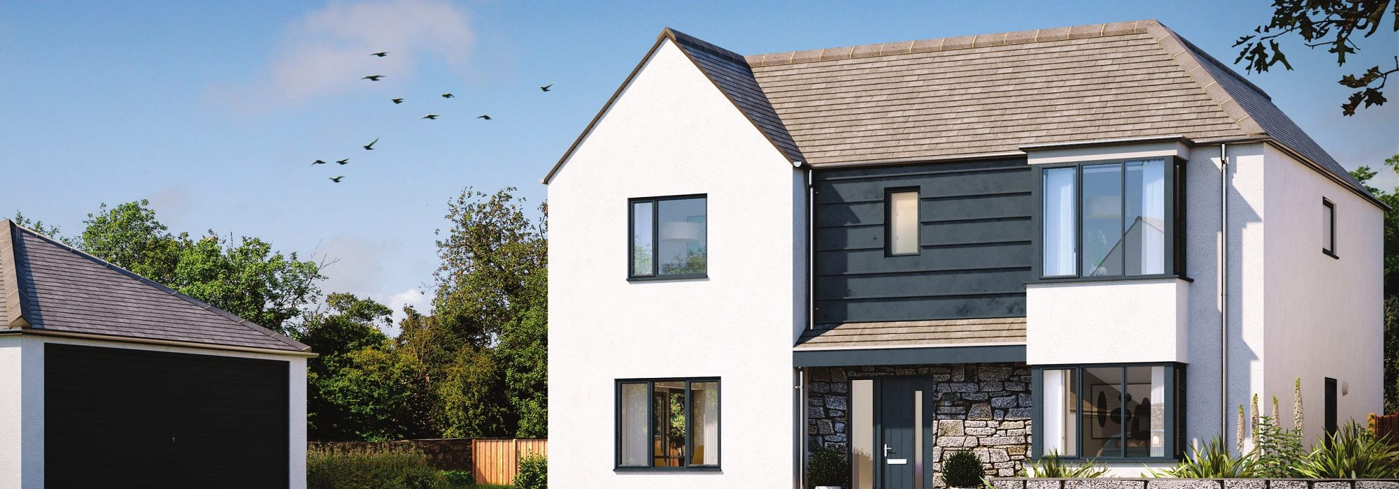 5 bedroom home HalwynMeadows Crantock whiteandzinc.jpeg 2000x700 - House 49 - 5 Bedroom Detached Home